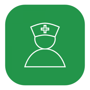 green icon of a nurse