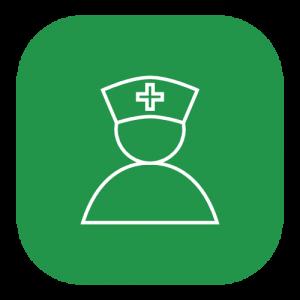 green icon of a nurse